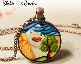 "One Eye Crying Lady Abstract Necklace - 1-1/4"" Circle Pendant or Key Ring - Handmade Wearable Photo Art Jewelry - Artistic Woman Nature Gift"