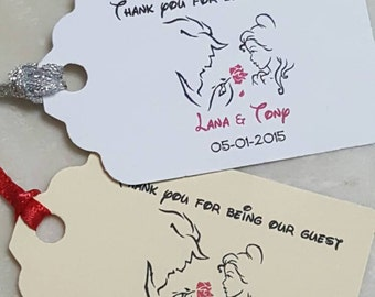 """Personalized Favor Tags 2.5L""""x1.8w"""", Wedding tags, Thank You tags, Favor tags, Gift tags, beauty and the beast, disney wedding,"""