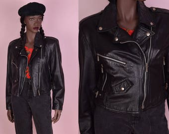 90s Black Leather Moto Jacket/ Small/ 1990s/ Biker/ Motorcycle