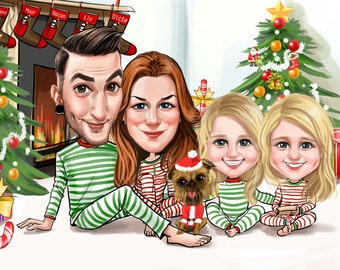 Family Portrait/ Digital Custom Family Caricature/ Personalized Family Drawing/ Cartoon Family Art/ Gift for him or her