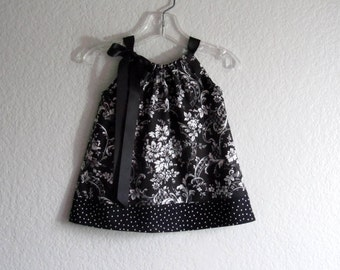 Baby Girls Black and White Dress - Black Pillowcase Dress with Bloomers - Black and White Damask Sun Dress - Size Nb, 3m, 6m, 9m, 12m or 18m