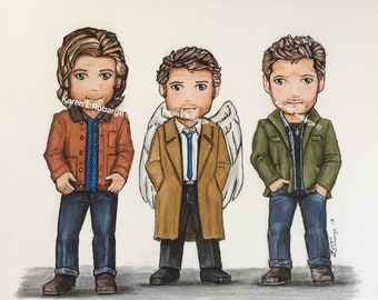 My version of cartoon Sam, Cas, and Dean art prints.