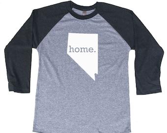 Homeland Tees Nevada Home Tri-Blend Raglan Baseball Shirt