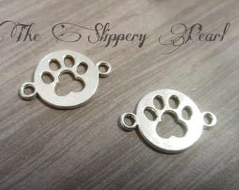 Paw Print Charms Connectors Links Antiqued Silver Dog Charms Paw Charms Pendants 10 pieces Paw Print Link Paw Connectors Wholesale Charms