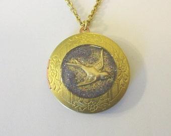 Brass Sparrow Locket