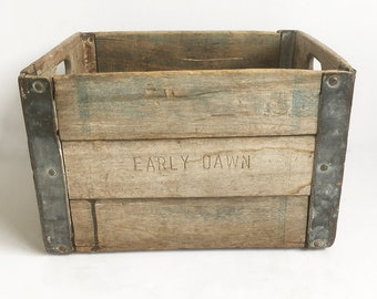 """Distressed 1950s Wood & Galvanized Steel Milk Crate, Wooden Milk Crate """"Early Dawn Dairy"""""""