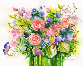 Original Watercolor Painting Bouquet Butterfly Lauren Ingraham