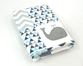 Whale  Baby Boy XL Crib Quilt ; baby boy blanket, whale blanket, whale blanket, crib bedding, patchwork quilt,
