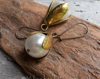 Large Vintage Pearl Flower Drop Earrings | Bridal Jewelry | Wedding Earrings | Large Pearl Earrings | Vintage Pearl Jewelry For Her Under 20