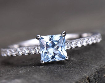 Blue Topaz Solitaire Engagement Ring 5.5mm Princess Cut Gemstone Promise Ring CZ Pave Set 925 Sterling Silver Bridal Ring White Gold Plated
