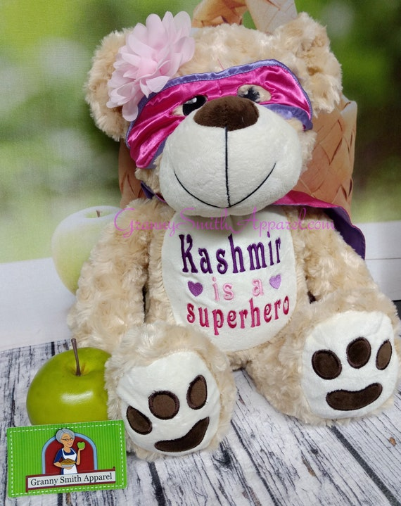 """SUPERHERO Hero PINK and purple bear 14"""" personalized plush embroidered bear gift. Child cancer fighter. childhood illness.  survivor"""