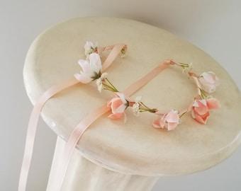 Baby Peach Flower crown photo prop headband Bridal wedding hair Wreath flower girl halo accessories headpiece Bride spring birthday