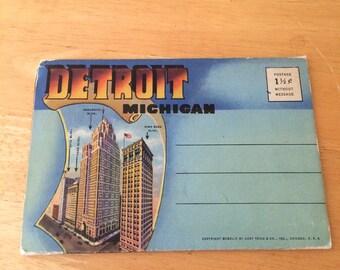 Vintage Detroit Michigan Postcard Folio
