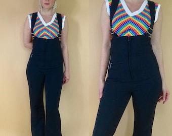 1970s bib overalls flares wide leg vintage black dungarees retro 70s White Stag ski pants ski suit ski overalls flare pants coveralls XS/S