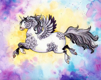 Unicorn Print Flying Unicorn Art Pegasus Nursery Art Watercolor Painting Unicorn illustration Horse Art