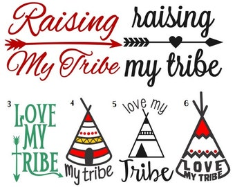 Raising my tribe decal , Tribe Sticker, Monogram Decal, Car, Yeti/tumbler, Laptop, Phone, iPad or Tablet Vinyl Decal Custom Teacher gift