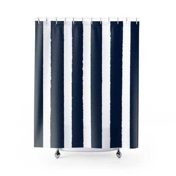 Navy Shower Curtain . Navy blue Striped Shower Curtain . Modern Navy Shower Curtain . Shower Curtain . Navy blue Striped Shower Curtain