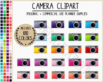 100 CAMERA clipart photography clipart Polaroid clipart camera planner stickers rainbow camera icon Erin Condren printable planner stickers