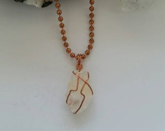 Energy - Clear Calcite Necklace, Wire Wrapped Pendant, Crystal Healing, Copper Jewelry, Learning, Distance Healing, Reiki, Copper Wrapped