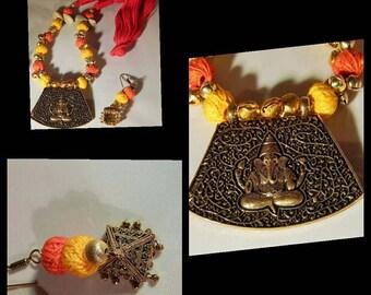 Ganesha pendant necklace set-Cotton thread necklace-oxidized metal pendant/boho/tribal/gold tone jhumka statement necklace set