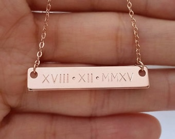 Custom Hand Stamped Rose Gold Roman Numeral Number Nameplate Necklace, Personalized Date Bar Necklace, Birthday Gift, Bridesmaid Gift