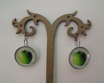 SALE earrings 20mm Apple green glass cabochon
