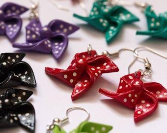Cute Red Shrink Plastic Pinwheel Earrings