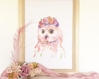 Art Print - Ophelia Owl in her Flower Crown