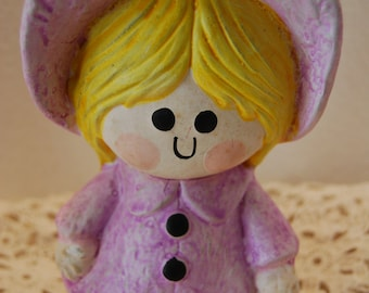 1970's VINTAGE Little Purple Bonnet Girl Chalkware Bank