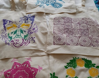 Hand stencilled/printed 100% Cotton 'Bags for All Reasons'