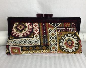 Vtg 70s needlepoint clutch purse bag floral paisley bohemian boho hippie envelope