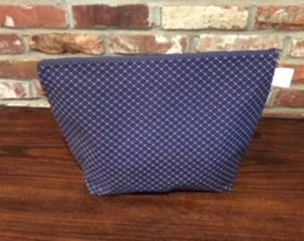 Navy Geometric Oversized Knitting Project Bag