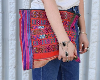 Adorable Vintage Peruvian Tribal Recycled Fabric Clutch Bag