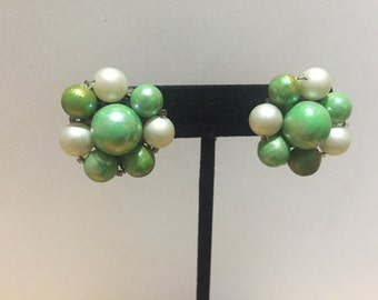 Vintage green and white beaded cluster clip on earrings, mid center signed japan