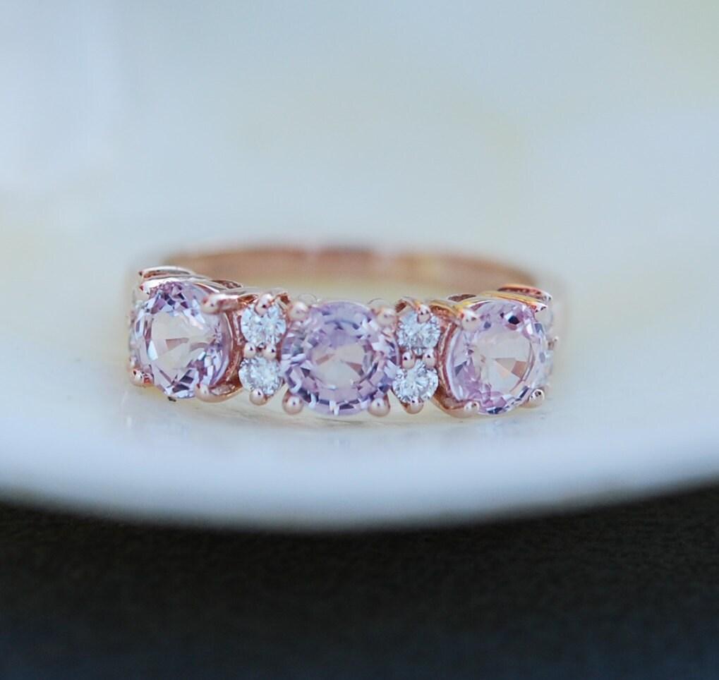 Super Lavender Peach sapphire anniversary ring 3 stone ring 14k rose  QG08