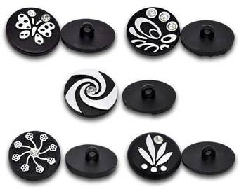 10 piece black and silver buttons with rhinestones, 5 designs