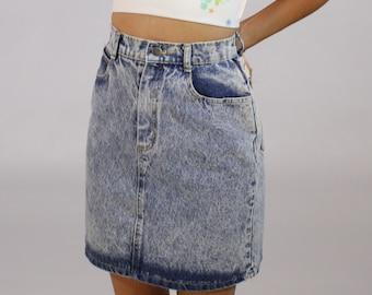 High Waist Denim Pencil Skirt - Women's - VIntage - Acid Wash