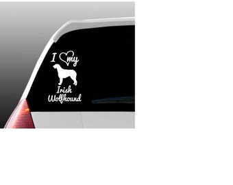 I Love My Irish Wolfhound/Irish Wolfhounds Car Window Decal