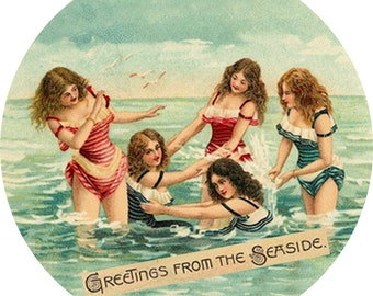 Greetings from the Seaside (2.25-in magnet pinback button badge keychain bottle opener pocket mirror)
