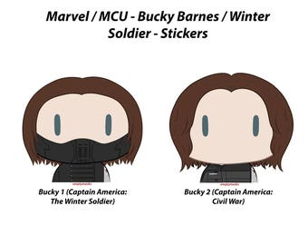 Bucky Barnes, Winter Soldier - Chibi Head Stickers
