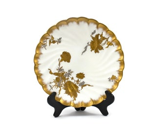 English Cabinet Plate - Gold and Silver Encrusted Floral Sprays, Bone China Plate, Powell Bishop & Stonier, c1885, Vintage China Plates