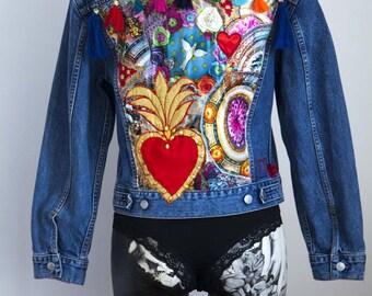 Denim jacket with patchwork and ex-voto