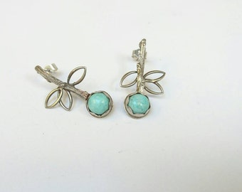Sterling silver  oxidised twig style earrings with torquiose cabochons, hallmarked in Edinburgh