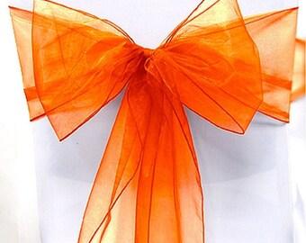 Orange Organza Chair Sash Bow Wedding Venue Decoration