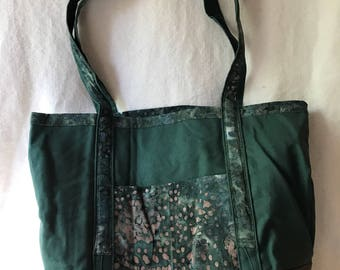 Green and Print Tote