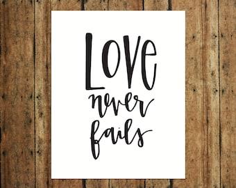 Love Never Fails | Digital Print | Calligraphy | Black