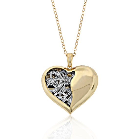 Gold open heart pendant 10k solid gold clock gear heart aloadofball Images