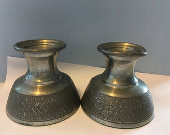 Norwegian Tinn pewter candlesticks