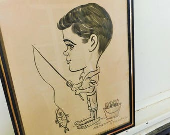 1964, Mid Century, Charicature, Street Art, Portrait of Boy and Fish, Instanbul, Turkey, Original Art, Ink Wash on Paper