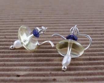 Smoky Quartz and Iolite UFO Earrings